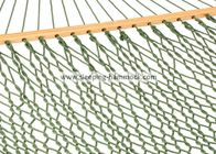 Patio Outside  Light Green Rope Hammock Weaving By Wide Spreader Bars 60 Inches