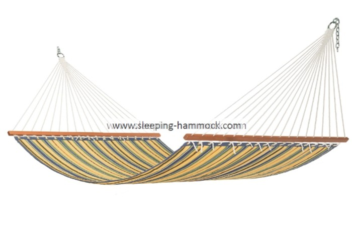 55 Inches Island Striped Quilted Weave Hammock For Two Person Yellow Blue Stripe