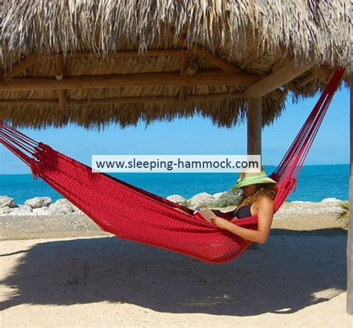 Beautiful Double Person Large Mayan Hammock  Hand Woven For Outdoor Beach Red