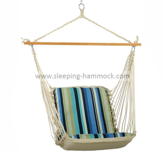 Single Cushioned Outdoor Hanging Hammock Swing Chair Soft  Polycotton Comfortable
