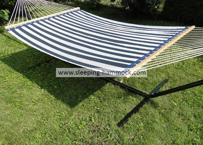 13ft Sturdy Patio Poolside Hammocks With Stand Textilene Navy Stripe , Poolside Double Hammock