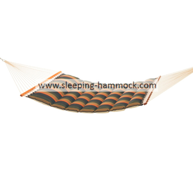 Weather Resistant Soft Polyester Pillow Top Hammocks With Solid Hardwood Bar Desert Wave