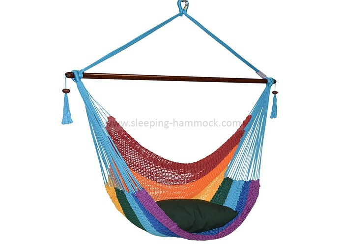 Multi Colored Rainbow Grand Caribbean Lounge Hammock Chair With Pillow 275 Pounds Capacity